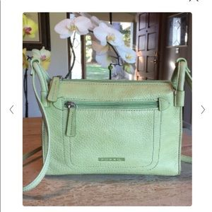 Light green leather fossil crossbody bag